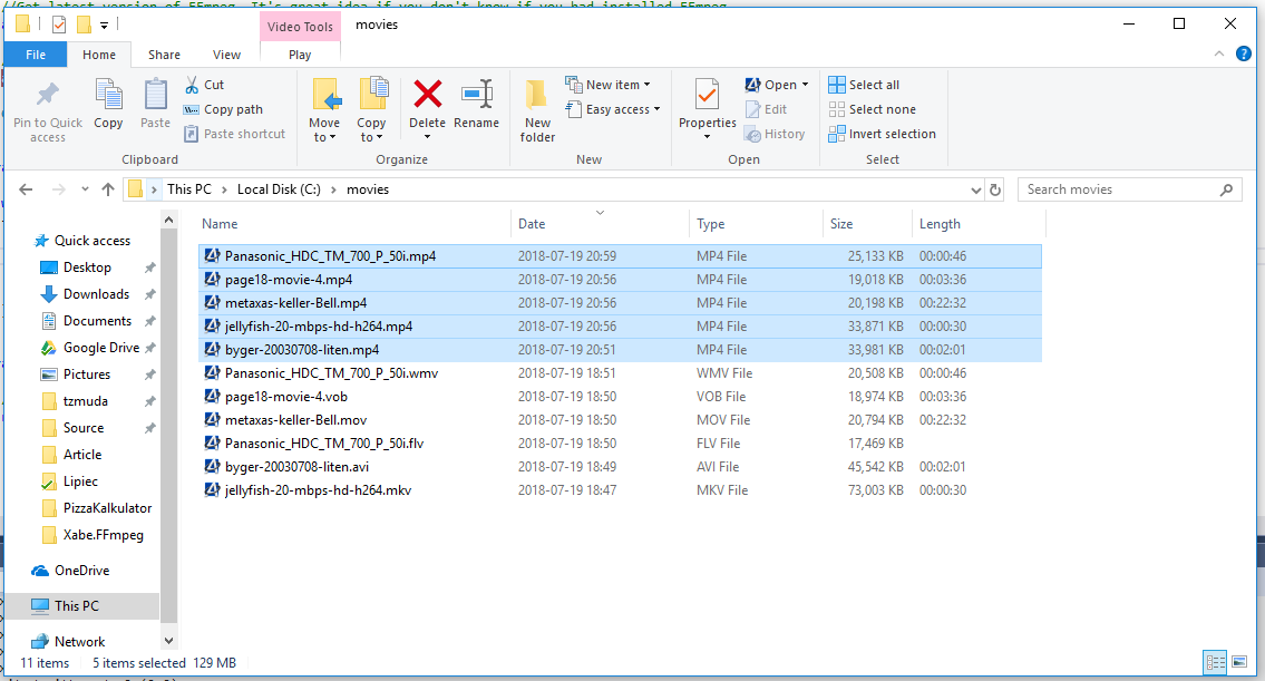 directory with movies after conversion